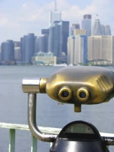 binoculars looking at a city scape
