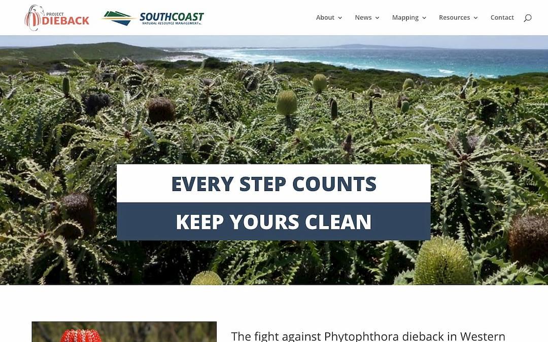 Screenshot of the Project Dieback website.
