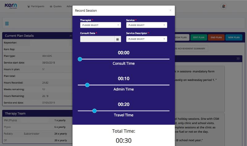 Screenshot of application timer