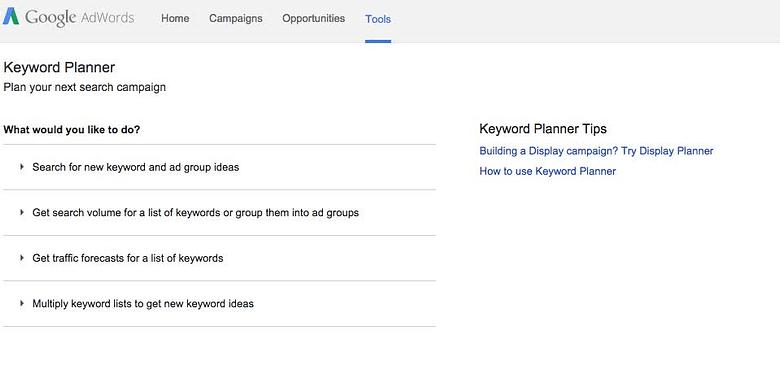 Keyword Planner page